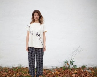 ON SALE Black splattered jersey top, boho, splatter print, minimalist, eco friendly, sustainable, eco fashion, slow fashion, asymmetric