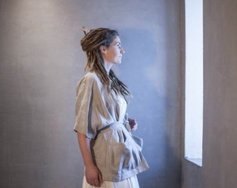ON SALE one of a kind relaxed fit linen kimono jacket with pockets