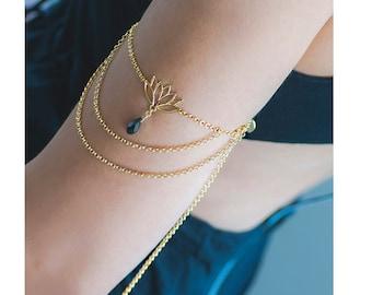 Chain Upper Arm Bracelet | Boho Style Lotus Flower Armlet | Upper Arm Band | Layered Chain Armlet | Lotus Arm Band |Atelier Petites Pierres