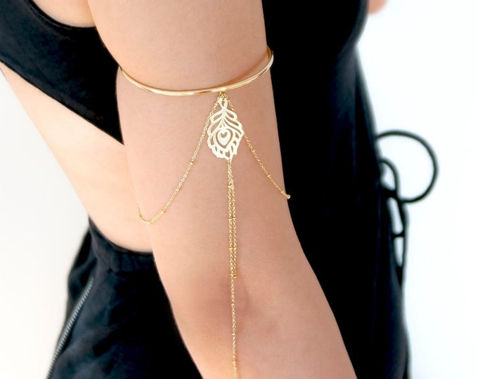 Gold Upper Arm Cuff | Feather Upper Arm Bracelet | Wire Armlet | Boho Wedding Armlet | Bohemian Bridal Jewelry | Atelier Petites Pierres