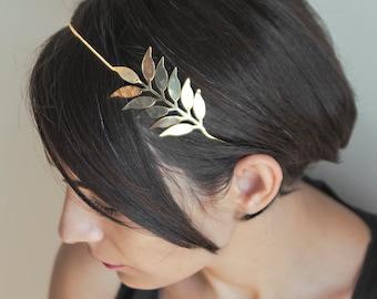 Boho Hair Chain, Palm Leaf Head Chain, Bridal Head Piece, Boho Head Piece, Wedding Hair Chain, Leaves Hair Accessory, Gold Leaf Wreath