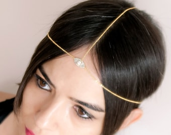 Dainty Head Chain for Wedding Party | Gift For Her | Hair Jewelry for Bridal | Gold Head Piece with CZ | Delicate Gold Chain Headband