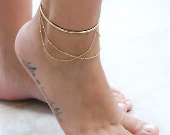 Gold Ankle Cuff, Layered Ankle Bracelet, Rose Gold Cuff Anklet, Ankle Cuff Jewelry, Wire Ankle Bracelet, Boho Ankle Chain, Silver Ankle Cuff
