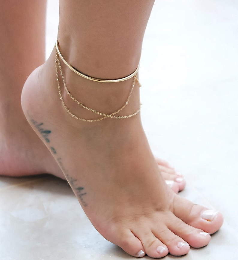 e2d04f99e Gold Ankle Bracelet Wire Anklet Ankle Cuff Bracelet