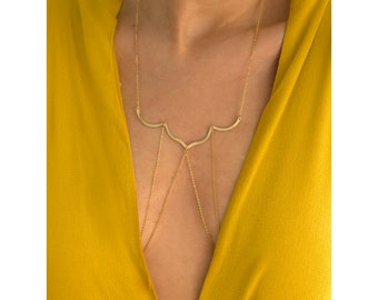 Gold Body Necklace, Delicate Body Chain, Dainty Body Jewelry, Bridal Body Necklace, Layered Body Chain, Summer Jewelry, Bridal Jewelry