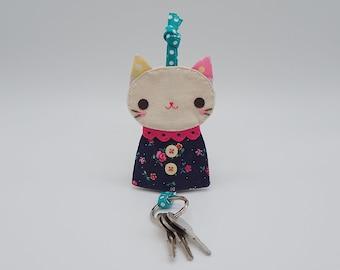 Prussian blue cat key cover