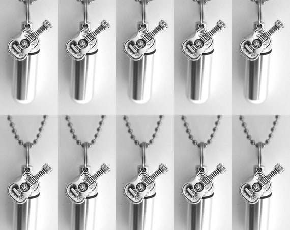 Large Set of Ten Silver Acoustic/Folk Guitar Cremation URN Necklaces with 10 Velvet Pouches, 10 Ball Chains & Fill Kit