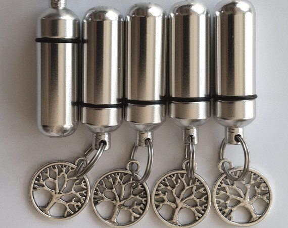 Family Set of FIVE Polished Silver TREE-Of-LIFE Cremation Urn Keychains with 5 Velvet Pouches & Fill Kit