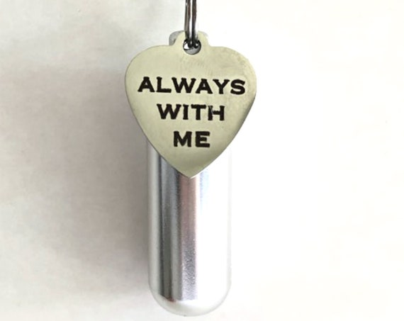 "Personal CREMATION URN Necklace with ""Always With Me"" Engraved Charm - Includes Velvet Pouch, Ball Chain, Fill Kit"