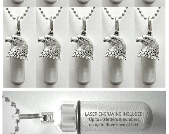 Patriotic Set of 10 Brushed Silver CUSTOM ENGRAVED Cremation Urn Necklaces  with Bald Eagles - Includes 10 Pouches, Ball-Chains & Fill Kit