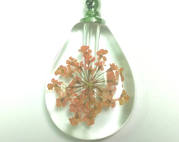 Clear Teardrop Crystal CREMATION URN NECKLACE with Embedded Dried Peach Color Flowers (each is unique) - Includes Velvet Pouch & Fill Kit