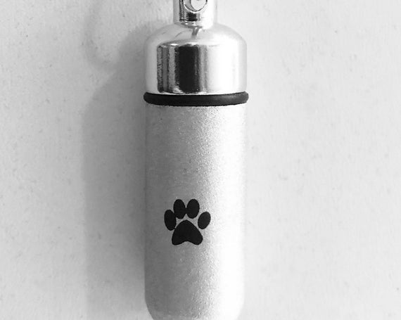 Laser Engraved Simple PAW Brushed Silver CREMATION URN Necklace - with Velvet Pouch, Ball-Chain and Fill Kit