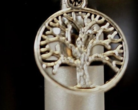 Hand-Brushed Silver 2-tone Cremation Urn Necklace - TREE OF LIFE - Custom Hand Assembled.... in Velvet Pouch with Fill Kit