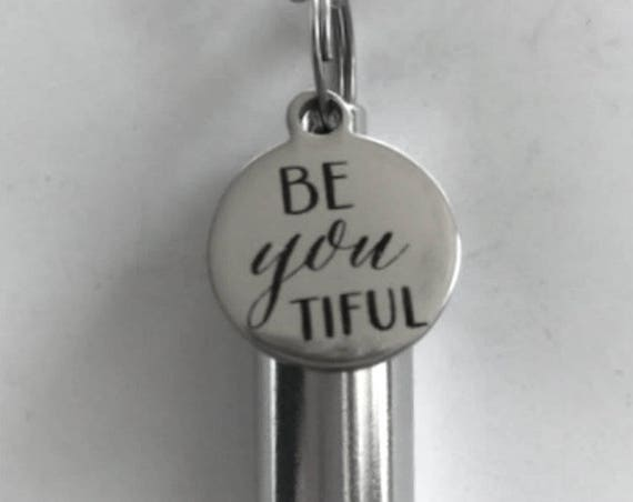 """Engraved  """"Be-you-tiful  - Cremation Urn Necklace -  Hand Crafted - with Velvet Pouch and Fill Kit"""