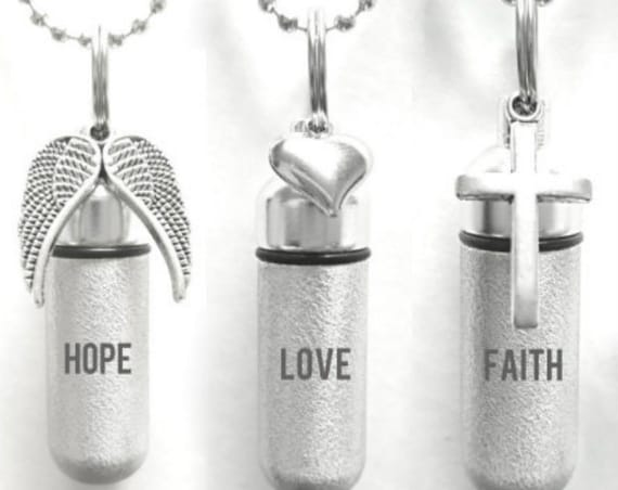 "Set of SIX Laser Engraved Hope/Love/Faith Brushed Silver Cremation URNS - with Wings, Hearts, Crosses - Includes 24"" Ball Chains & Pouches"