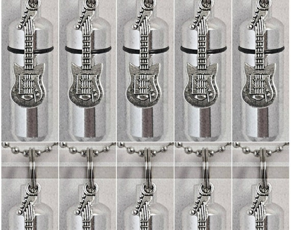 Special Set of TEN Silver CREMATION URN Keepsakes with Silver Electric Guitars - with 10 Velvet Pouches, 10 Ball Chains & Fill Kit