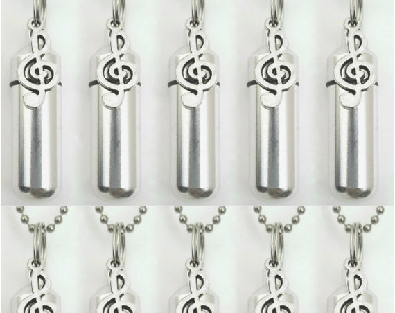 Wonderful Family Set of TEN Musical Treble Clef CREMATION URNS Includes 10 Pouches, 10 Ball Chains, Fill Kit