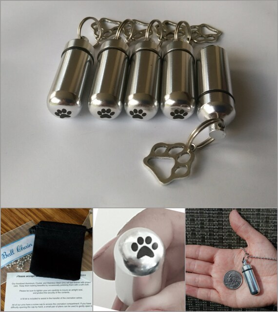 Dog/Cat/Pet Set of 5 Silver Paw CREMATION URN Necklaces with Engraved Paws on Bottom - Includes 5 Pouches, 5 Ball-Chains & Fill Kit