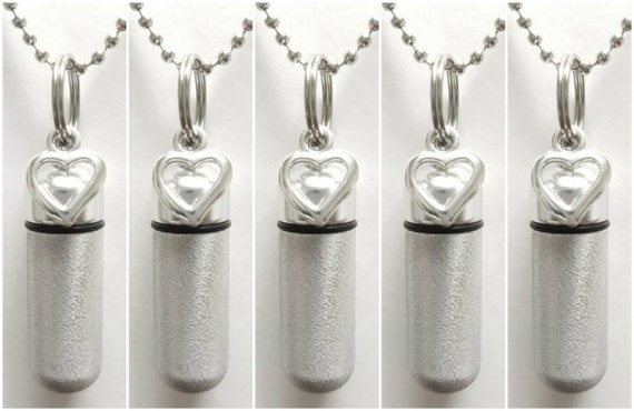 5 PIECE SET - Brushed Silver Open Heart Cremation Urn Necklaces with Pouches / Urn Keepsake / Urn For Ashes / Urn Jewelry / Ashes Necklace