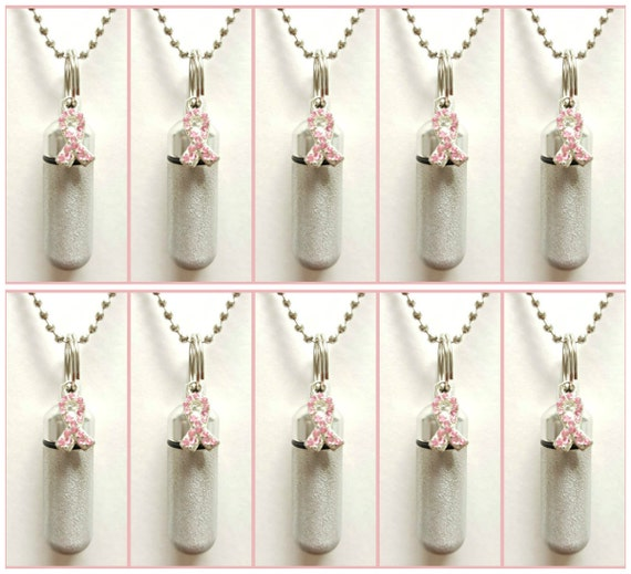 Special Set of TEN Brushed Silver Breast Cancer Awareness CREMATION URN Necklace Keepsakes with 10 Velvet Pouches, 10 Ball-Chains & Fill Kit