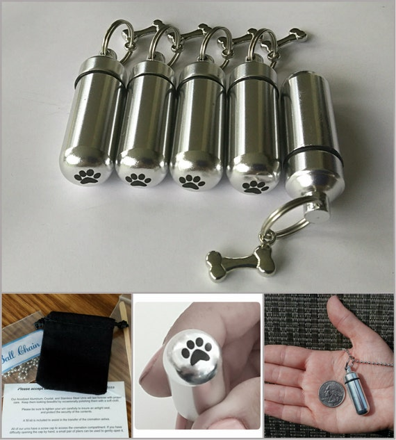 Adorable Family Pet Set of 5 DOG BONE Cremation Urn Necklaces with Laser Engraved PAWS - Includes 5 Pouches, 5 Ball-Chains & Fill Kit