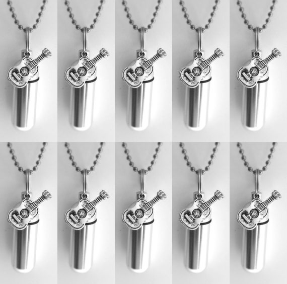 Special Set of TEN Silver CREMATION URN Keepsakes with Silver Acoustic/Classical Guitars - with 10 Velvet Pouches, 10 Ball Chains & Fill Kit