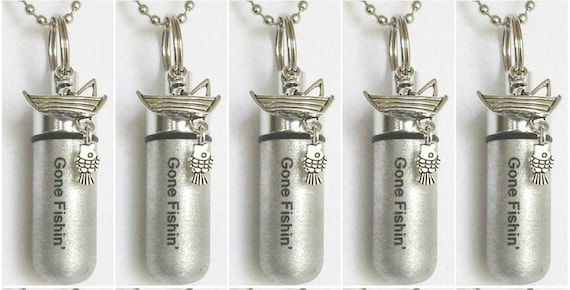 """Unique Set of FIVE Brushed Silver CREMATION URN Necklaces w/Engraved """"Gone Fishin""""  Fisherman in Boat with 5 Pouches, 5 Ball-Chains & Funnel"""