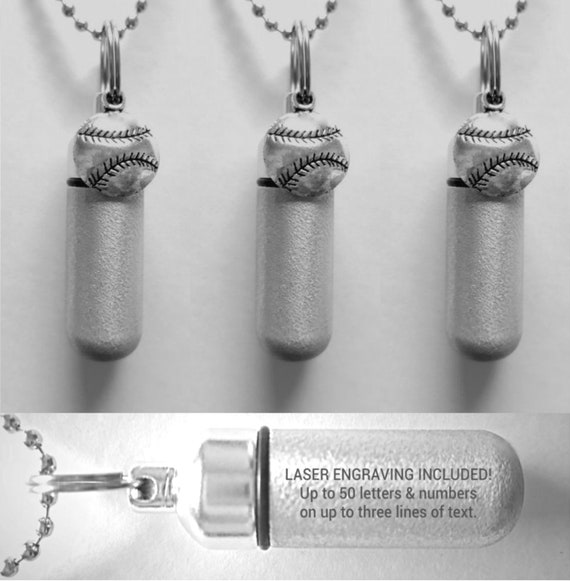 Set of Three Brushed Silver CUSTOM ENGRAVED Baseball Cremation Urn Necklaces  - Includes 3 Velvet Pouches, 3 Ball-Chains & Fill Kit