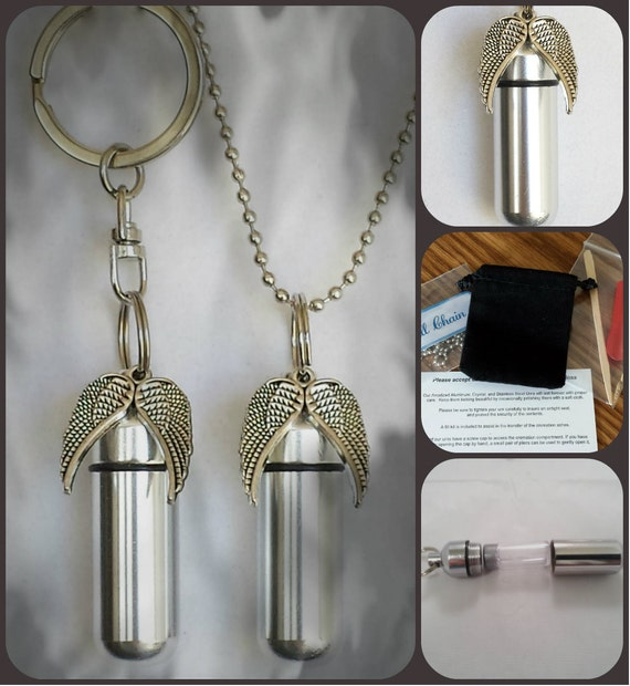 Spread Angel Wings  2pc. Special Set - Cremation Urn Necklace & Keychain Urn and Velvet Pouches