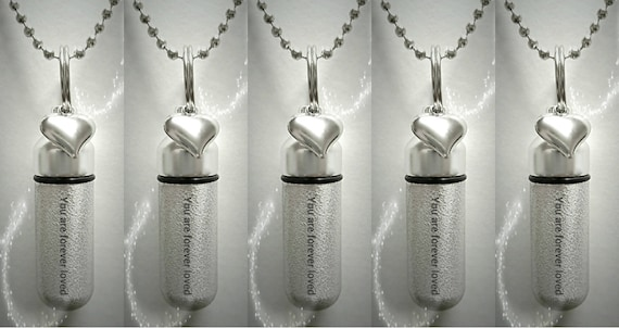 """Set of FIVE Engraved Brushed Silver CREMATION URN Necklaces """"You are forever loved""""  with Heart Charm - Includes Velvet Pouches & Fill-Kit"""