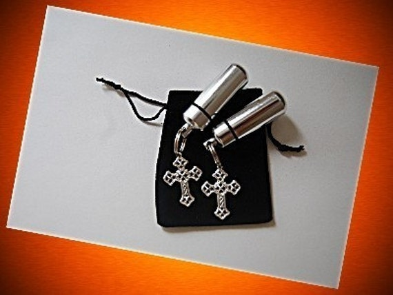 TWO Silver Cremation Urns and Vials with Filigree Cross  - Keychain/Pendant - Includes Fill Kit and Velvet Pouches