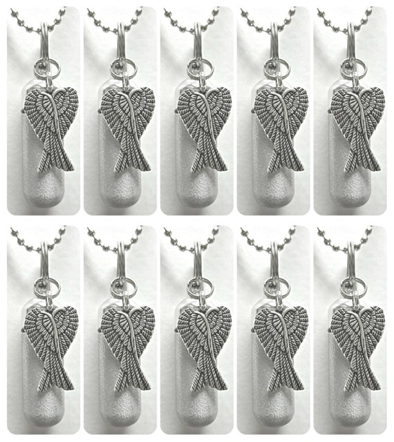 SPECIAL PURCHASE!! Family Set of Ten Engravable Brushed Silver Angel Wings Cremation Urn Necklaces w/10 Velvet Pouches, 10 Chains & Fill Kit