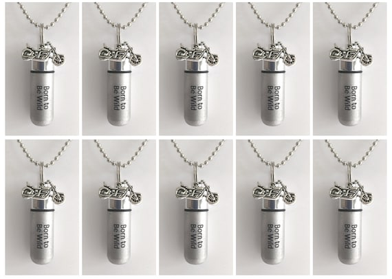 """TEN ENGRAVED Brushed Silver Cremation Urn Necklaces """"Born To Be Wild""""with Motorcycle - with Velvet Pouches, Ball-Chains & Fill Kit"""
