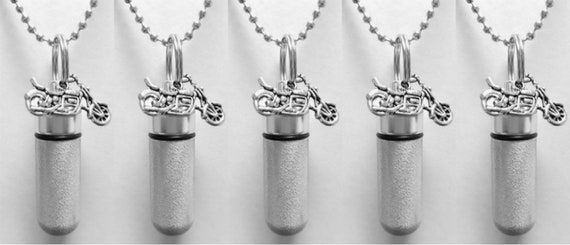 Set of 5 Brushed Silver Motorcycle ANOINTING OIL Vial/Canisters with 5 Velvet Pouches, 5 Steel Ball-Chain Necklaces & 5 Pipette Droppers