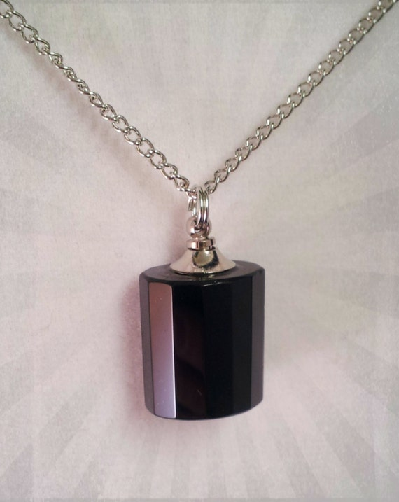 "Black Classic Mourning Stone Crystal CREMATION URN on 24"" Silver Necklace  -   with Velvet Pouch and Mini Funnel"