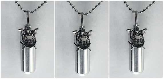 Set of THREE Silver Musical Drums CREMATION URN Necklace Keepsakes with Drum Set Charms - Includes 5 Velvet Pouches 5 Ball-Chains & Fill Kit