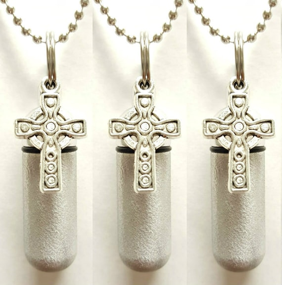 Set of THREE - Brushed Silver Anointing Oil Holders with Vials and Celtic Crosses - with 3 Velvet Pouches 3  Ball Chains, & Fill Kit