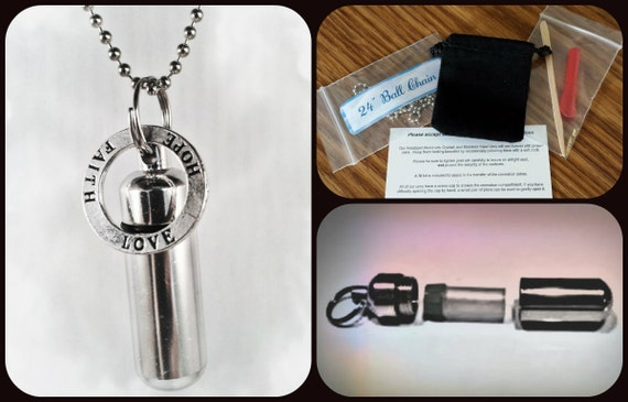 "Complete Set - HOPE/LOVE/FAITH Cremation Urn on 24"" Necklace  - Custom Hand Assembled.... with Velvet Pouch and Fill Kit"