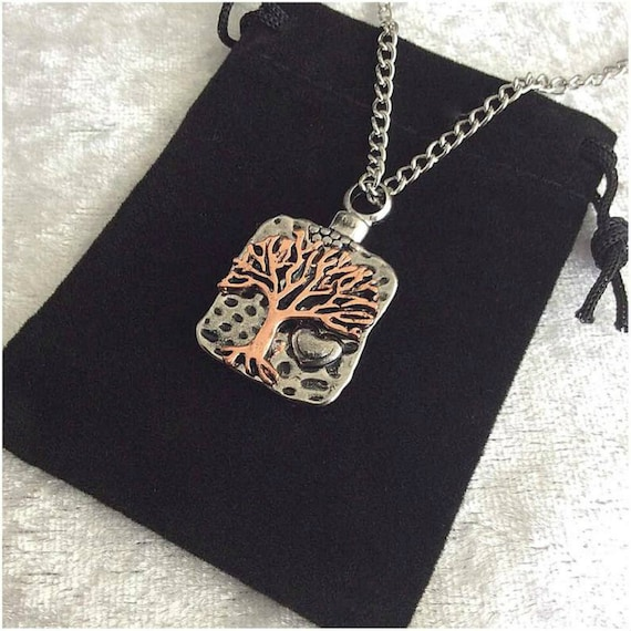 "Beautiful Stainless Steel ""Sculptured Tree Of Life"" Cremation Urn on 24"" Curb Chain Necklace - with Velvet Pouch and FIll Kit"