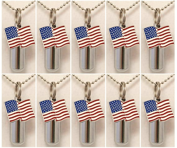 Patriotic/Military Set of TEN Silver CREMATION URN Necklaces with Colorful American Flag - Includes 10 Velvet Pouches & 10 Fill Kit