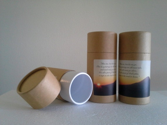 """SET OF THREE Eco-Friendly Cremation Urn Scattering Tubes w/Telescopic Lids - Natural/Biodegradable - Style """"Sunset"""""""