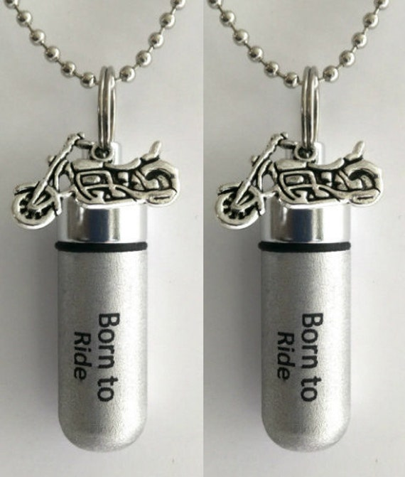 """Set of 2 ENGRAVED Brushed Silver Cremation Urn Necklaces """"Born To Ride"""" with Motorcycle - with/2 Velvet Pouches, 2 Ball-Chains & Fill Kit"""