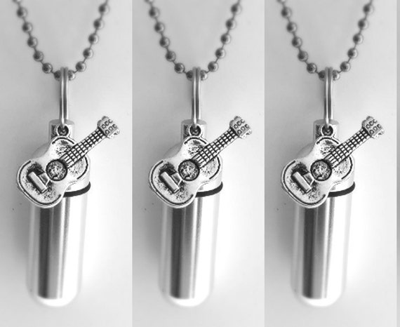 Special Set of Five Silver CREMATION URN Necklace Keepsakes with Acoustic/Folk Guitar - Includes 5 Velvet Pouches. 5 Ball-Chains & Fill Kit