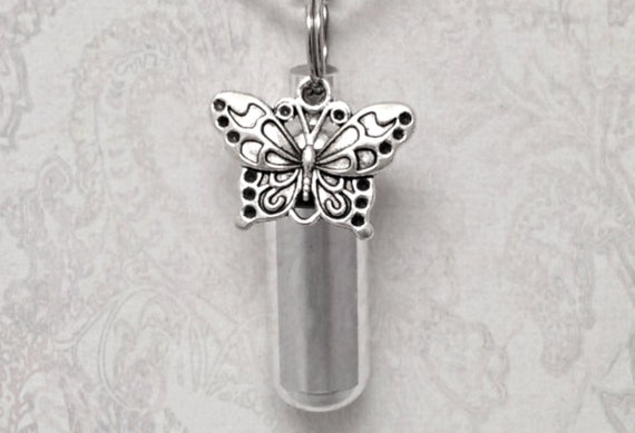 Silver Cremation Urn & Vial with BUTTERFLY - Custom Hand Assembled.... with Velvet Pouch and Fill Kit