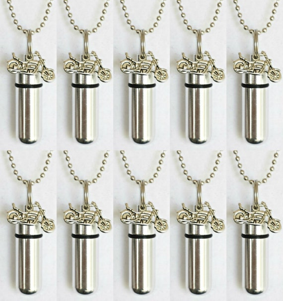 Special Set of 10  Silver MOTORCYCLE CREMATION URN Necklace Keepsakes - with 10 Velvet Pouches, 10 Ball Chains & Fill Kit