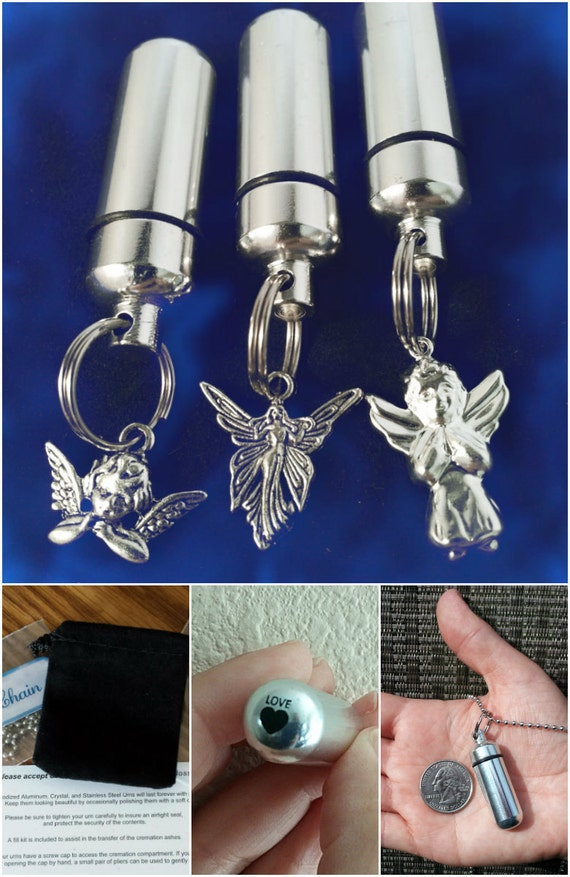 Engraved Trio of ANGELS Special Set -  3 Cremation Urns in Velvet Pouches with Fill Kit