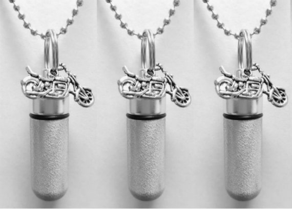 Set of 3 Polished Silver Motorcycle ANOINTING OIL Vial/Canisters with 3 Velvet Pouches, 3 Steel Ball-Chain Necklaces & 3 Pipette Droppers