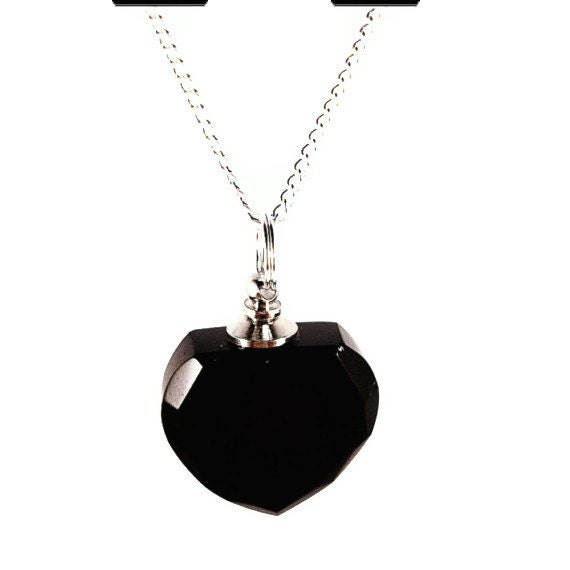 """Black HEART Crystal Mourning Stone CREMATION URN on 24"""" Silver Necklace  -   with Velvet Pouch and Mini Funnel"""