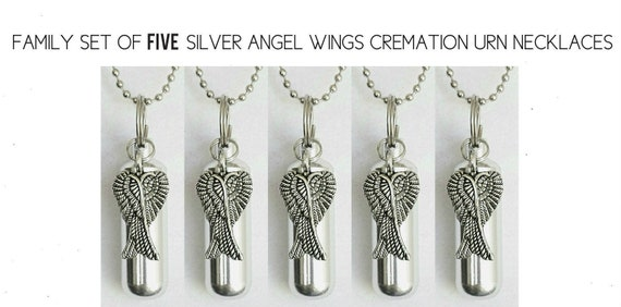 Special Set of FIVE Silver CREMATION URN Necklace Keepsakes with Large Angel Wings - Includes 5 Velvet Pouches, 5 Ball-Chains & Fill Kit