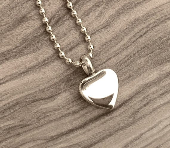 """Tiny Stainless Steel Silver Heart Cremation Urn on 24"""" Ball Chain Necklace - with Velvet Pouch & Fill Kit - Discreet, Small,  Child Size"""